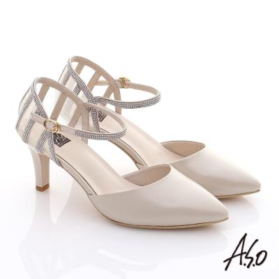 A.S.O 甜蜜樂章 真皮後跟網布尖楦高跟鞋 卡其