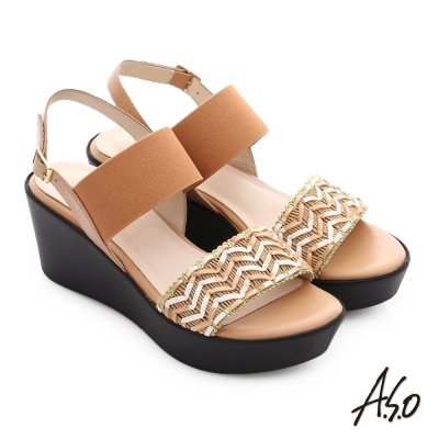 A.S.O 嬉皮假期 全真皮編織彈力綁帶楔型厚底涼鞋 卡其色