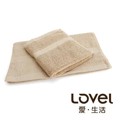 LOVEL 嚴選六星級飯店(毛巾+方巾)超值雙件組合(椰褐)