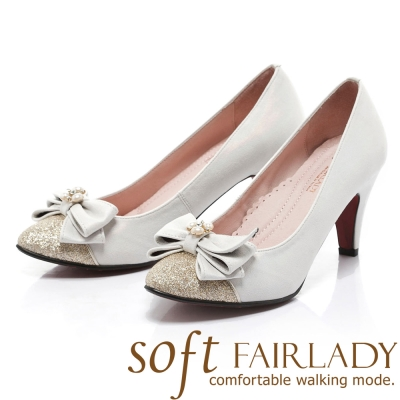 Fair Lady Sfot芯太軟 蝴蝶結亮蔥微尖頭高跟鞋 白