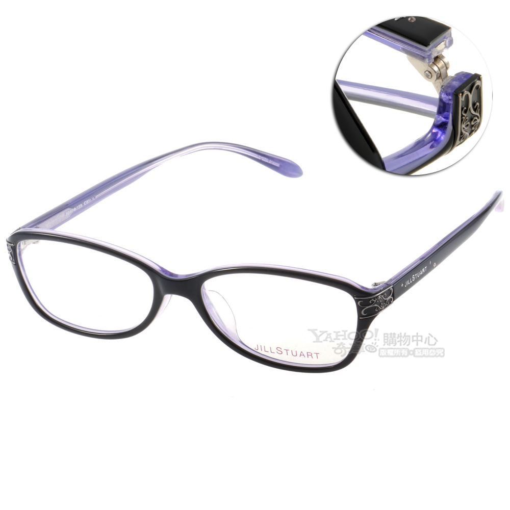 JILL STUART眼鏡 蔓藤花紋/黑-藍紫色#JS60010 C01