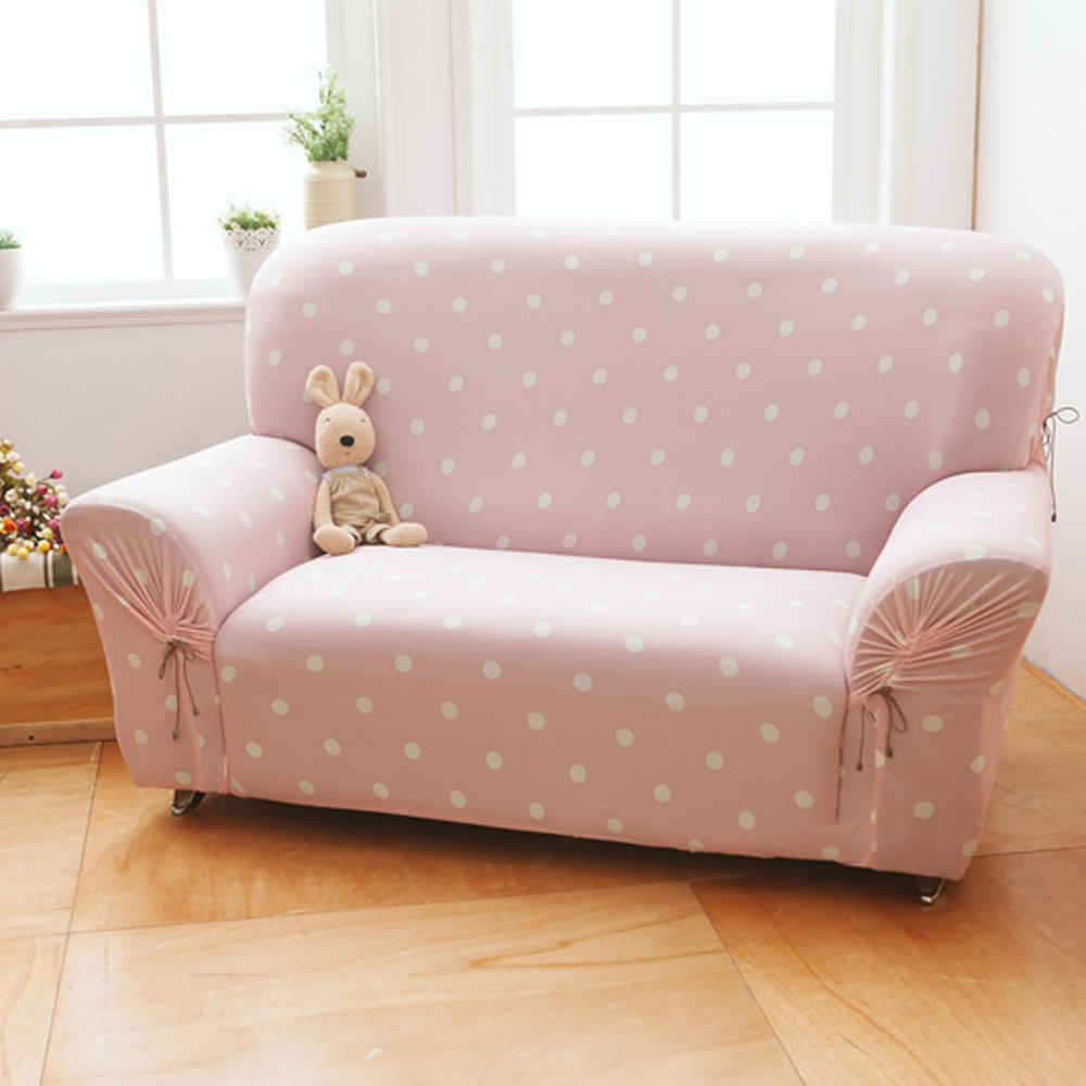 格藍家飾 雪花甜心彈性沙發套3人-草莓粉