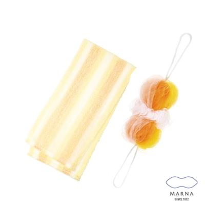 【MARNA】兔尾毛沐浴巾刷背泡泡海綿組(黃)
