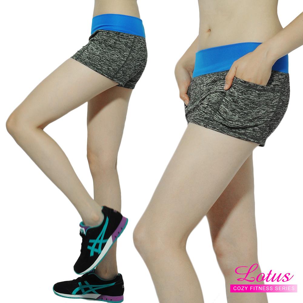 運動褲 撞色蜜桃臀小口袋緊身速乾運動短褲-閃電藍 LOTUS