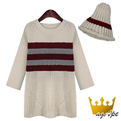 條紋撞色寬鬆針織長毛衣附毛線帽(共二色)-agApe