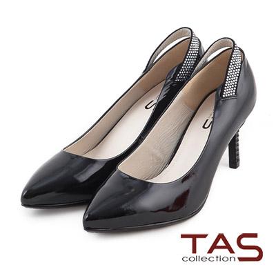 TAS-素面後鏤空水鑽一字繫帶尖頭高跟鞋-時尚黑