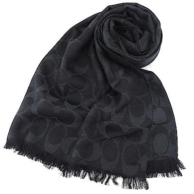 COACH 經典滿版LOGO羊毛混絲針織披肩圍巾(全黑)