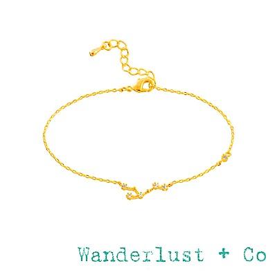Wanderlust+Co 澳洲品牌 獅子座手鍊 金色鑲鑽手鍊 LEO