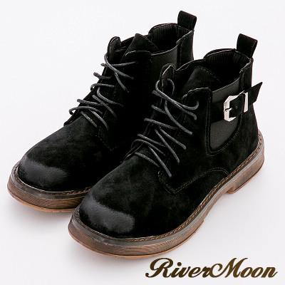 River&Moon短靴-時髦擦色綁帶鬆緊扣環登山軍靴-黑