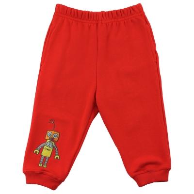 愛的世界 純棉機器人鬆緊帶束口長褲-紅/1~4歲