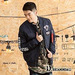 Dreamming 軍風立體徽章鋪棉飛行夾克外套-共二色