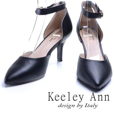Keeley Ann 都會輕熟~氣質復古全真皮尖頭瑪莉珍鞋(黑色)