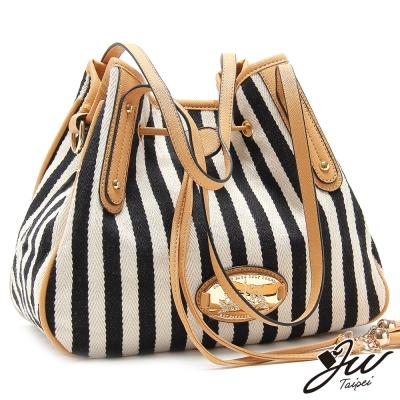 JW-水手流蘇直條個性帆布水桶包-共五色