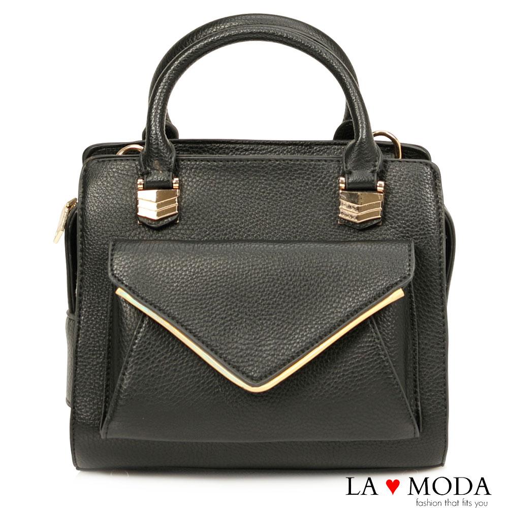 La Moda 模特兒街頭必備單品信封式前袋肩背手提兩用包(黑)