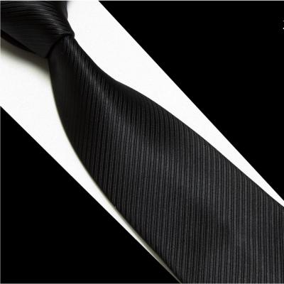 拉福 黑色斜紋領帶6cm中窄版領帶拉鍊領帶 (黑)