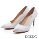 KOKKO經典再現 - 時髦尖頭斜切高跟鞋 -星鑽白