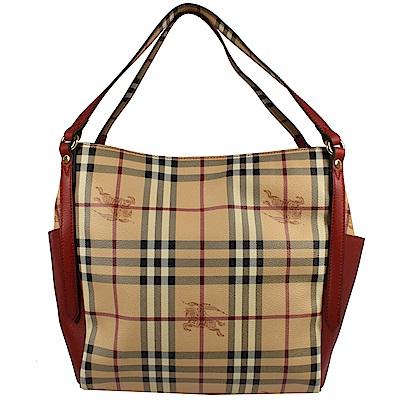 BURBERRY 雙口袋造型PVC戰馬格紋款托特包(紅)