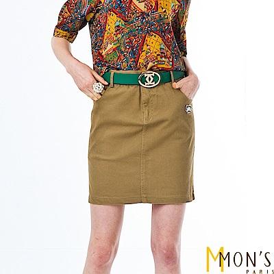 MONS 彈力棉料修身及膝裙