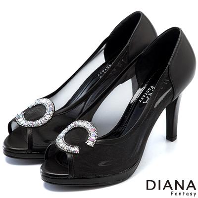 DIANA-精品工藝-時尚透明托斯細網魚口跟鞋-黑