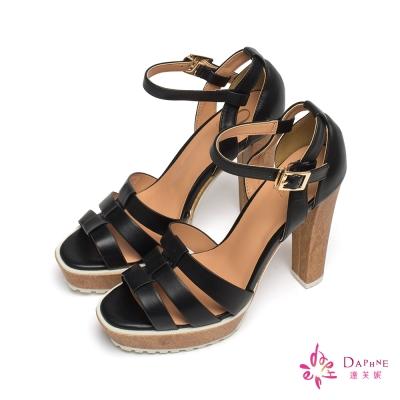 達芙妮x高圓圓-圓漾系列羅馬環帶防水台粗高跟涼鞋