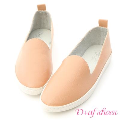 D+AF 休閒自在.超軟皮革素面懶人鞋*粉