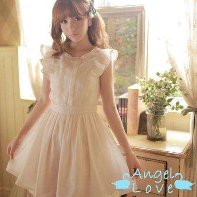 Angel-Love-精美波浪花邊荷葉袖洋裝-淺杏色