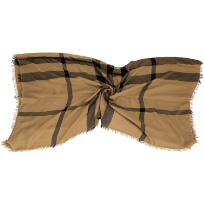 BURBERRY 黑格紋圍巾(駝色/20%MERINO WOOL)