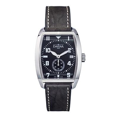 DAVOSA Evo 1908 復刻獨立酒桶小秒針手錶-黑x黑皮帶/36mm