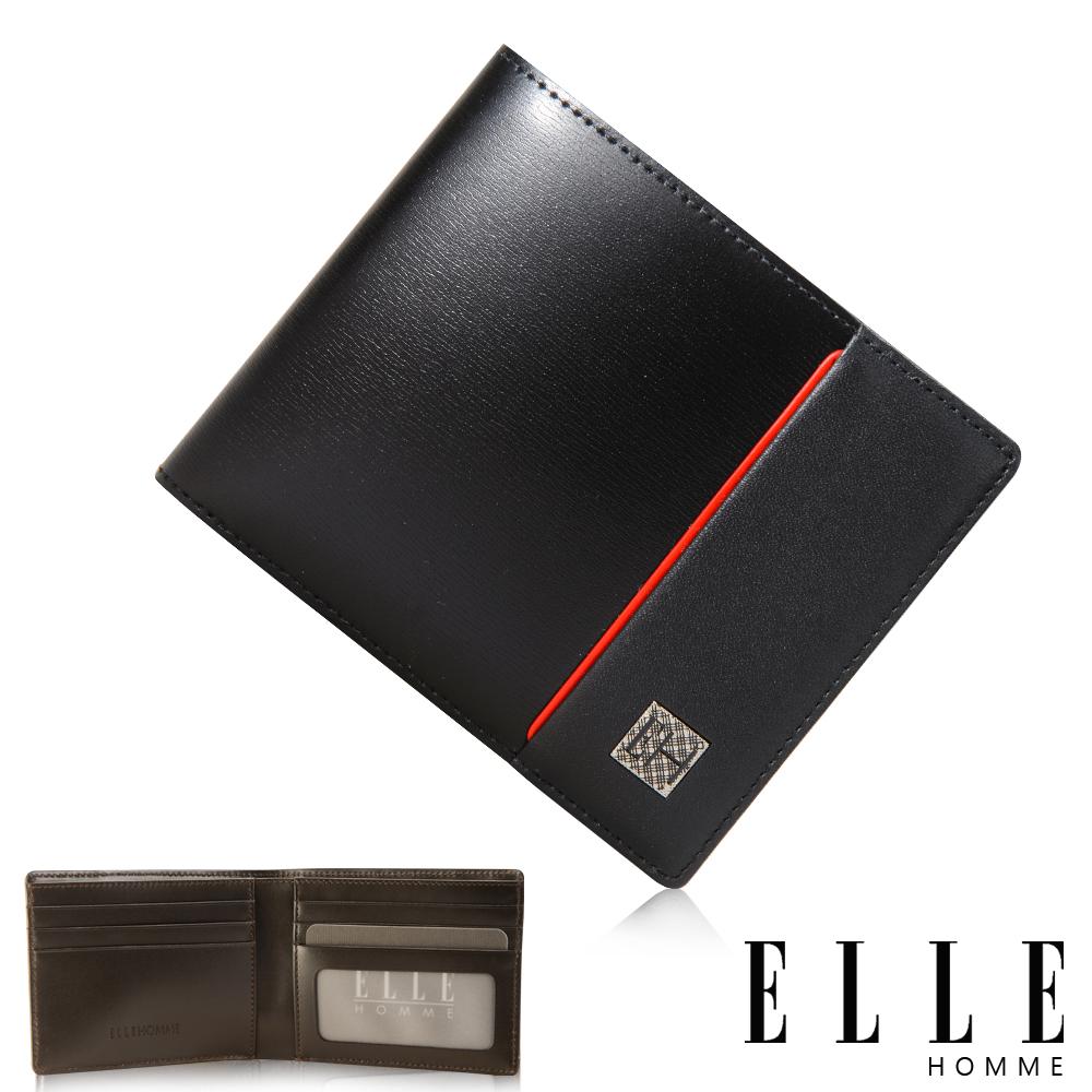 ELLE HOMME 法式精品短夾 嚴選義大利頭層皮 鈔票多層/名片多層設計-黑