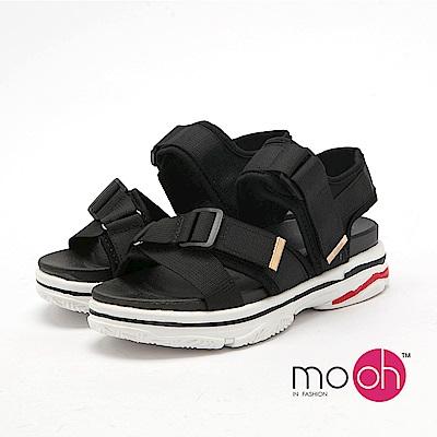 mo.oh-運動織帶一字厚底運動涼鞋