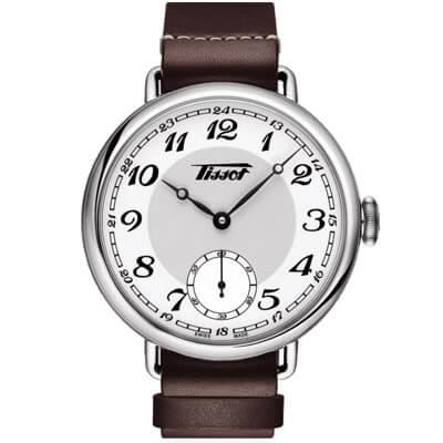 天梭 TISSOT Heritage 1936復古風小秒針腕錶-白x咖啡/45mm