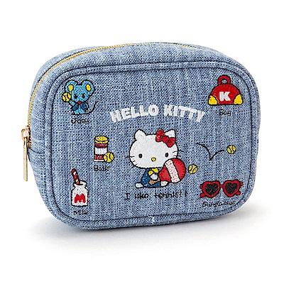 Sanrio HELLO KITTY刺繡鑲飾化妝包(元氣小物)