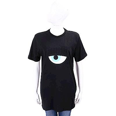 Chiara Ferragni 經典大眼刺繡黑色棉質長版T恤