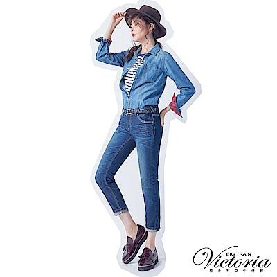 Victoria 中腰立體水洗純棉男友褲-女-深藍