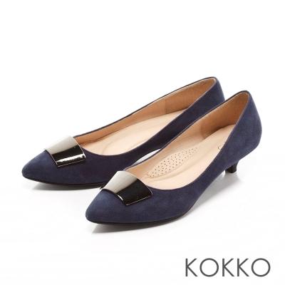KOKKO-典雅黑曜金屬麂皮跟鞋-霧寶藍