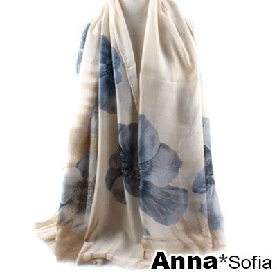 AnnaSofia-花境雲想-高密度織毛邊披肩圍巾-藍茶系