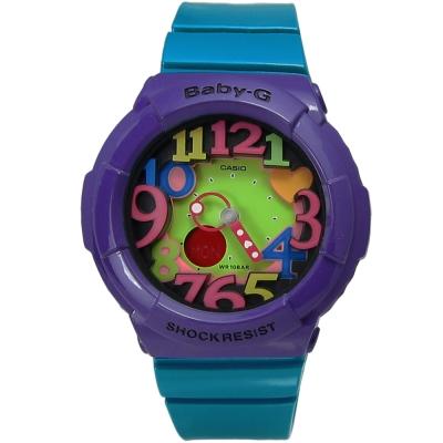 BABY-G 繽紛霓虹立體刻度夜光雙顯腕錶(BGA-131-6B)-紫x藍綠色/42mm