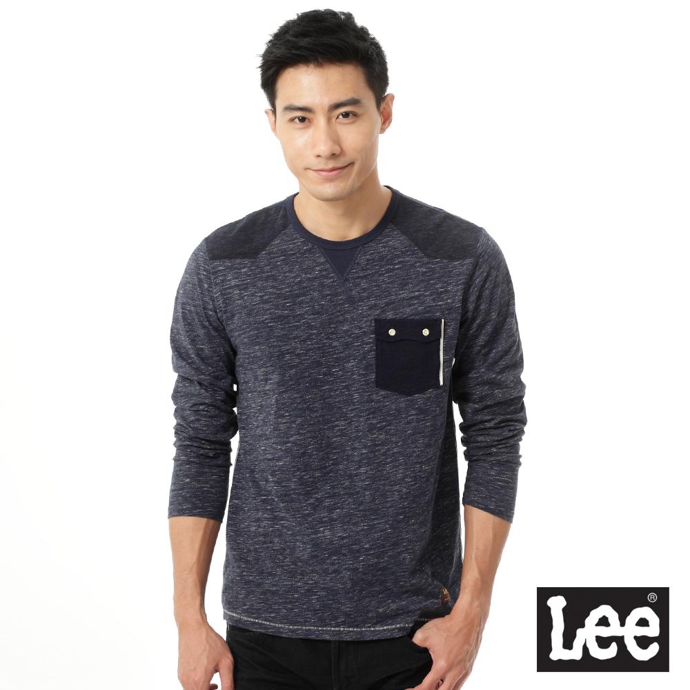 Lee-圓領101+ 印花長袖T恤-男款-百搭耐看