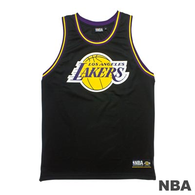 NBA-洛杉磯湖人隊經典印花運動背心-黑