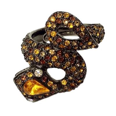 Kenneth Jay Lane 好萊塢巨星最愛 拓帕石黃色彩鑽 8造型 蛇戒指 附原廠盒