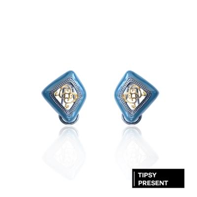 微醺禮物 耳環 鋼針 復古鏤空 宮廷雕花 深藍綠 古典 耳針