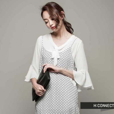 H:CONNECT 韓國品牌 女裝 - 圖樣修身背心洋裝 - 白(快)
