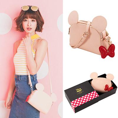 Disney collection by Grace gift米妮吊飾立體雙層側背包