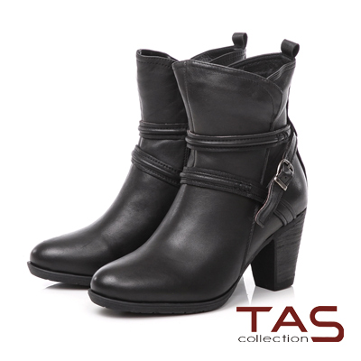 TAS 擦色交疊繞踝皮帶扣高跟短靴-低調黑