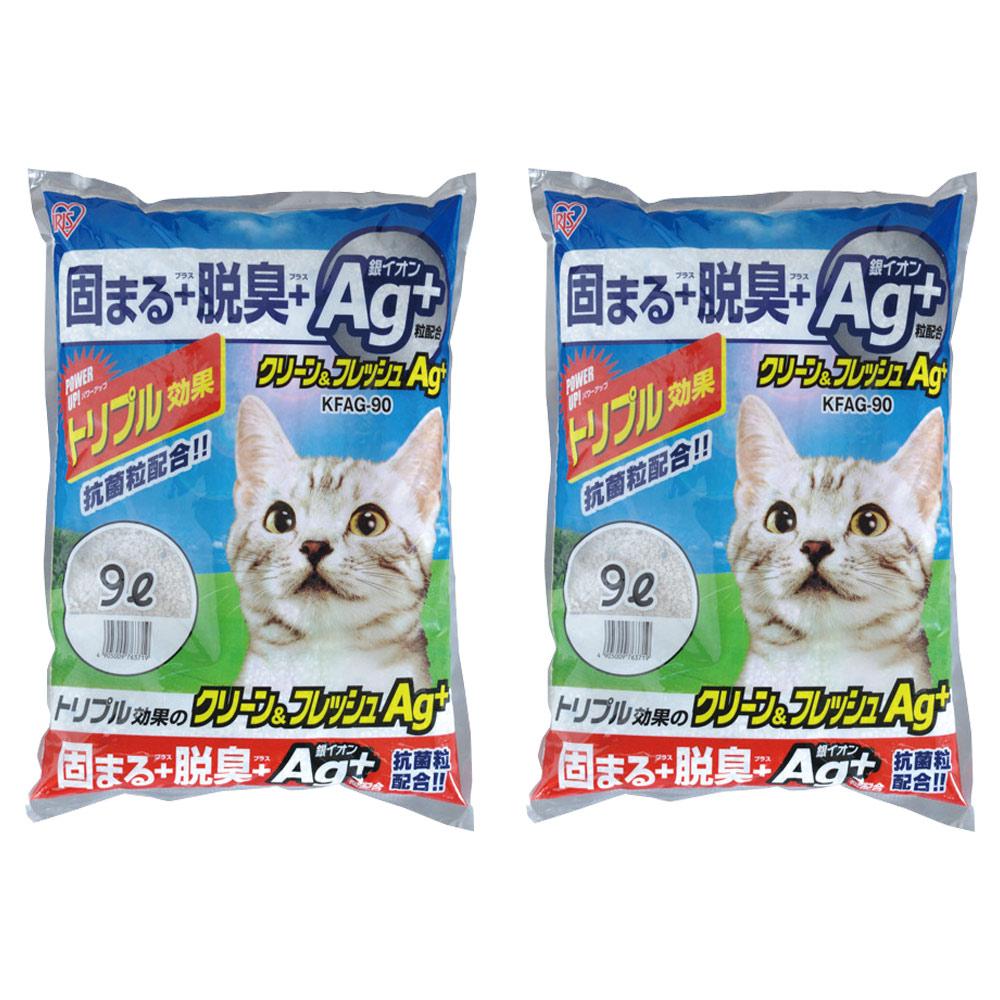 日本IRIS AG+奈米銀強效抗菌貓砂 (KFAG-90) 9L X 2包