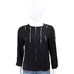 MARELLA 蕾絲簍空拼接黑色絲質上衣