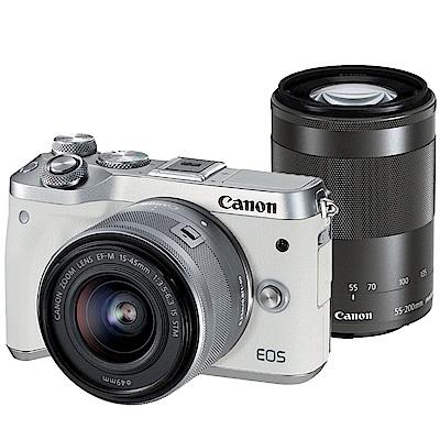 CANON EOS M6+15-45mm+55-200mm 全新限量白 雙鏡組*(平輸)