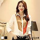 襯衫韓國雪紡拼接撞色OL顯瘦女長袖高檔襯衫 S-2XL LIYO理優