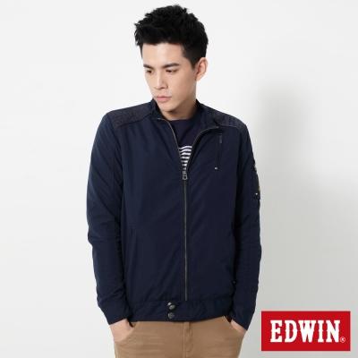 EDWIN 肩繡字騎士風防寒外套-男-丈青