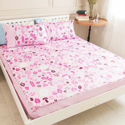 奶油獅-好朋友系列-台灣製造-100%精梳純棉床包二件組(俏麗粉)-單人加大3.5尺